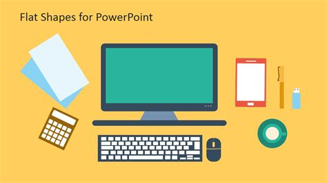 powerpoint 2007 themes computer creative flat shapes for powerpoint slidemodel