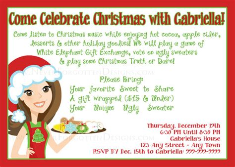christmas cookie exchange invitation for print or email by