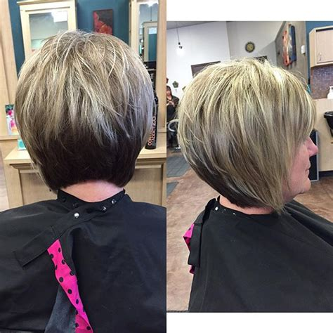 layered bob hairstyles for over 50 front and back view layered stacked bob front and back pictures short