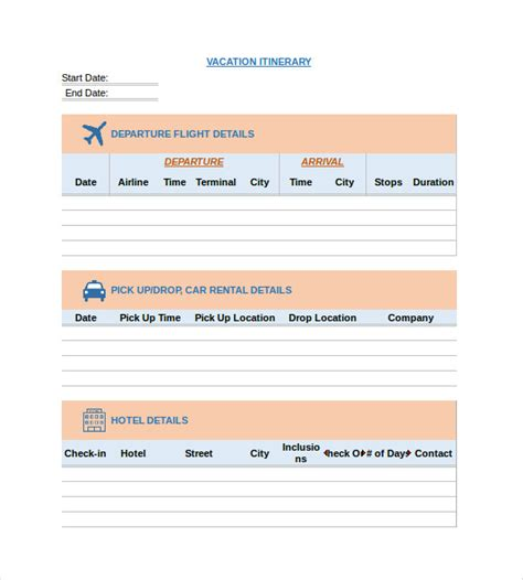 vacation itinerary template itinerary template 15 free word excel pdf documents