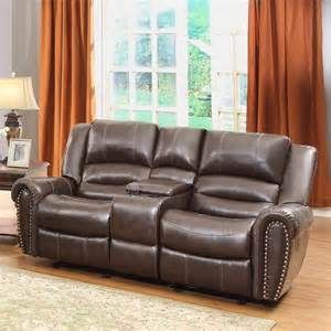 Leather Reclining Loveseat With Center Console Homelegance Center Hill Doble Glider Reclining Loveseat W