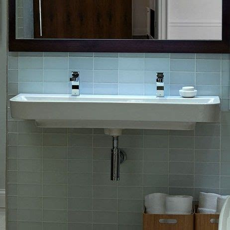 lyndon 47 quot wall hung trough bathroom sink two faucet