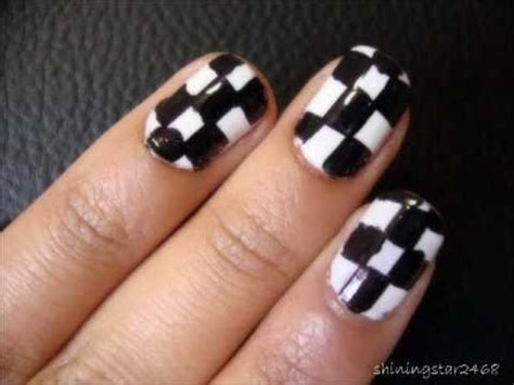 nail art checkered tutorial checkered nail art tutorial youtube