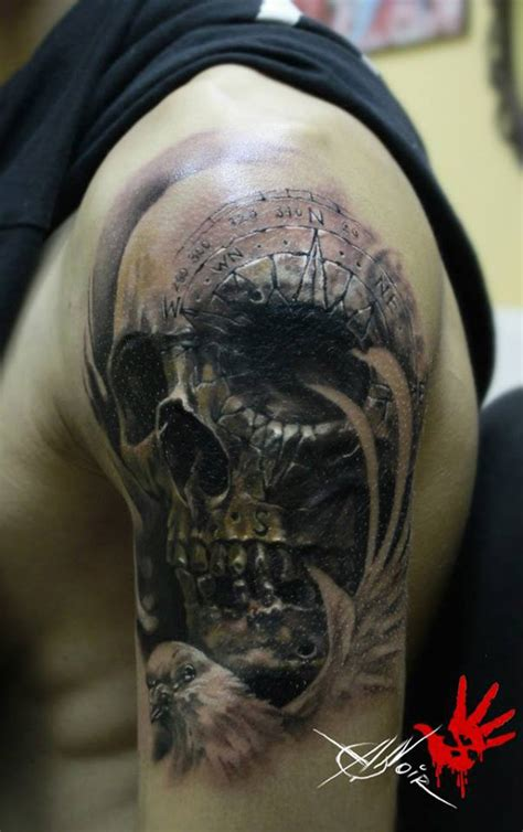 skull with compass engraving best tattoo design ideas