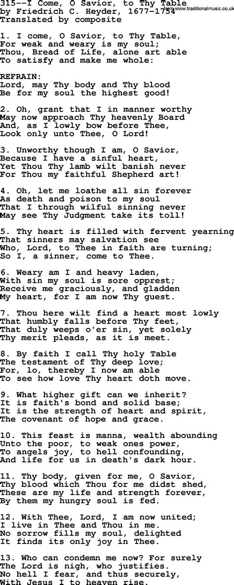 Come To The Table Lyrics by Lutheran Hymns Song 315 I Come O Savior To Thy Table