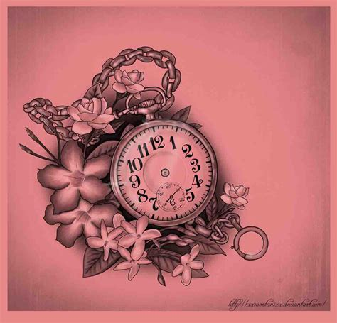 pocket watch and rose tattoo design 100 unique tattoos