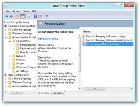 user configuration administrative templates panel display отключаем экран блокировки компьютера в windows 8 consumer