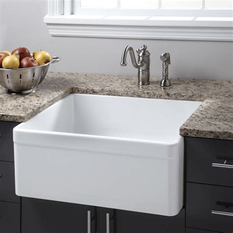 contemporary kitchen sinks 26 quot baldwin fireclay farmhouse sink decorative lip