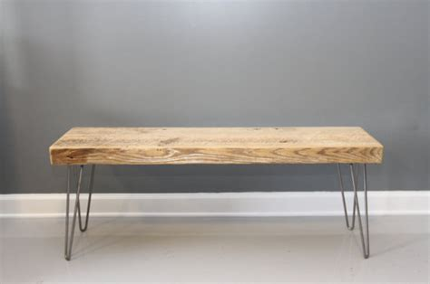 wooden bench legs wooden bench with hairpin legs reclaimed wood by dendroco