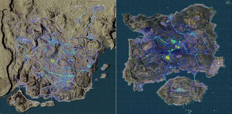 heatmaps  player positions  miramar  erangel
