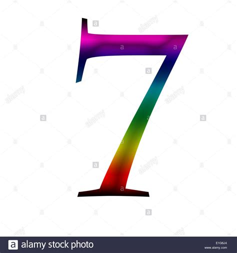 7 colors of the rainbow number seven 7 made from rainbow color stock photo