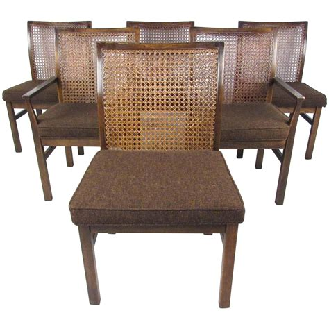 set of six mid century modern back dining chairs by
