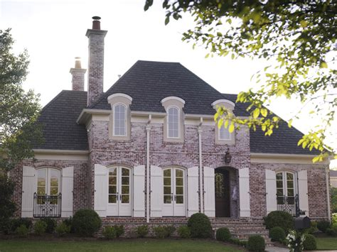 country french homes country home designs brick wall grey roof white window