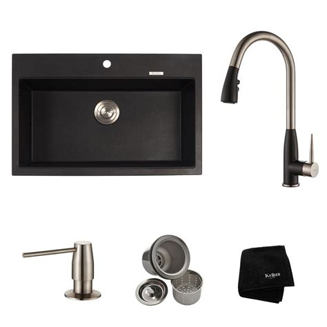 granite composite kitchen sinks vs stainless steel kraus all in one dual mount granite composite 31 in