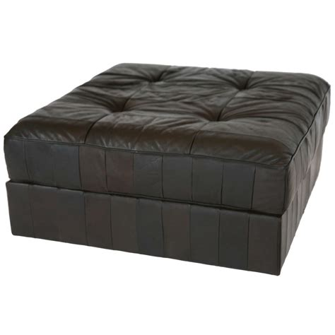 huge leather ottoman large leather patchwork ottoman by de sede at 1stdibs
