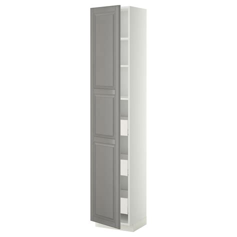 metod maximera high cabinet with drawers white bodbyn grey