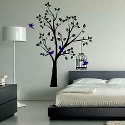 Wall Decorations For Bedrooms Tree Birds Birdcage Pretty Lovely Wall Decor Home Design Sticker Bedroom Tr1