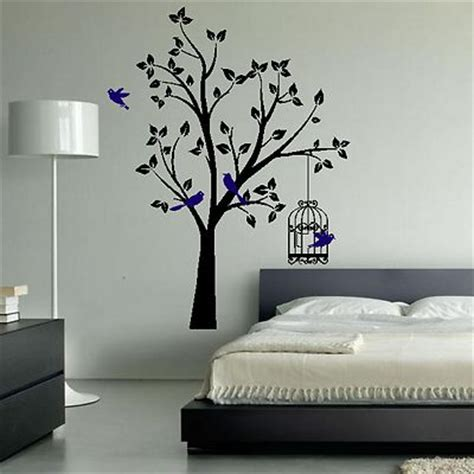 wall art designs bedroom wall art tree birds birdcage