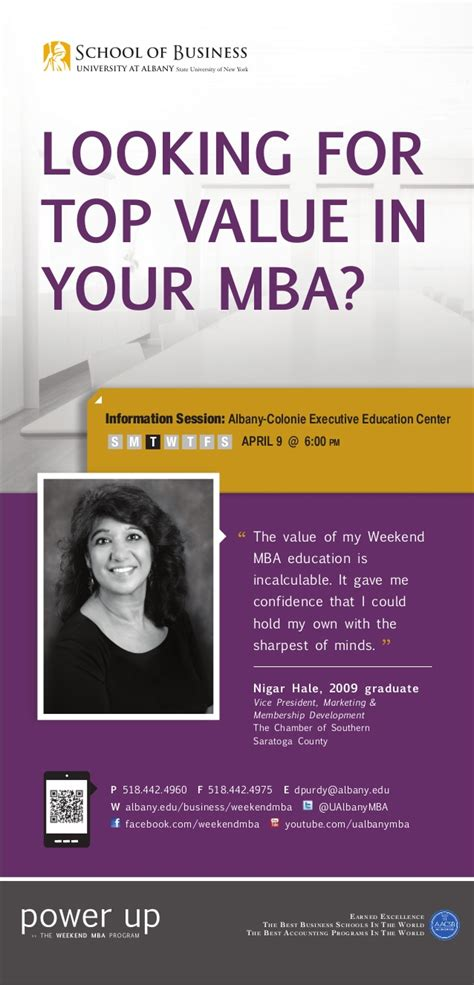 Executive Mba Albany by Ualbany Weekend Mba Quot Looking For Top Value In Your Mba Quot Ad