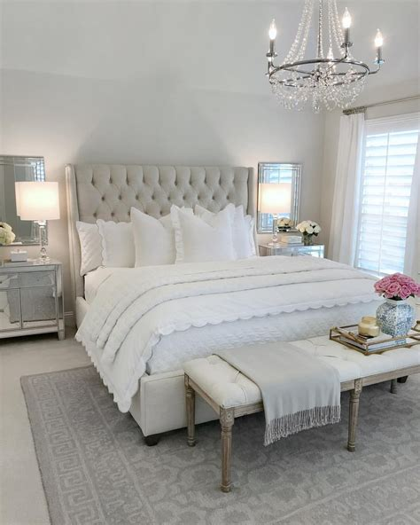 bedroom inspo glam bedroom tufted bed classic gray