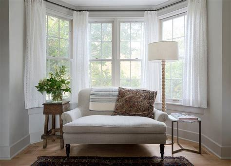 bay window settee heather gray roll arm settee in bay window cottage