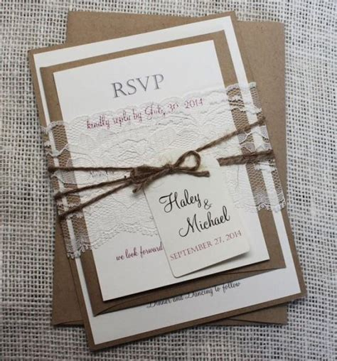 rustic wedding invitation lace wedding invitation shabby
