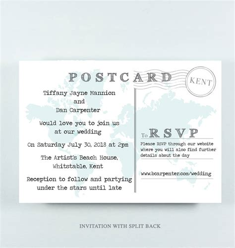 seaside postcard wedding invitations wedding map postcard invitation with quote by pap