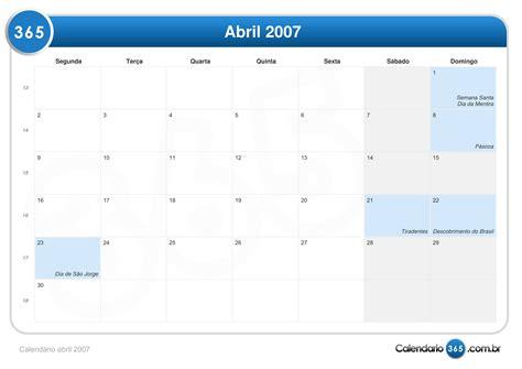 Calendario Abril 2007 Calend 225 Abril 2007