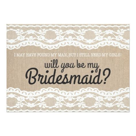 be my rustic lace will you be my bridesmaid invitation 5 quot x 7