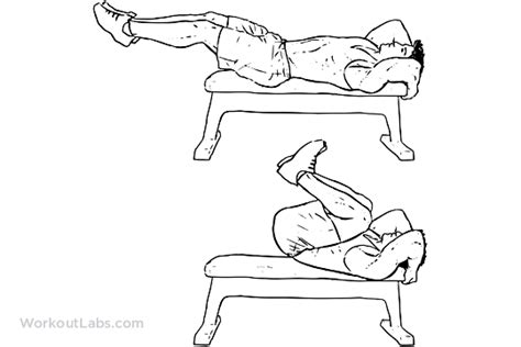 reverse crunch on bench reverse bench crunch illustrated exercise guide