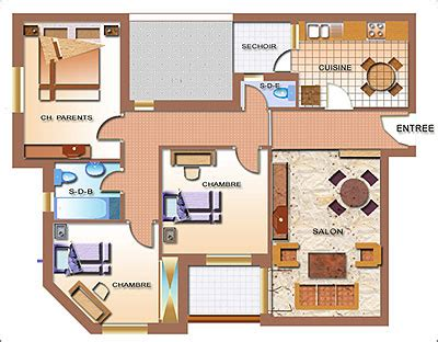 Kitchen With Island Layout Plan D Appartement De Maison French 1412 Tccd