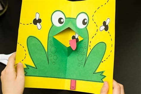 animal pop up card template easy pop up frog for hub