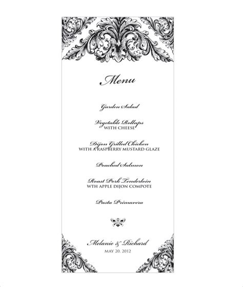 31 Wedding Menu Templates Sle Templates Wedding Menu Size Template