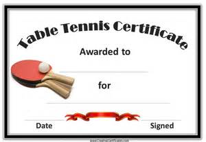 Variety of free printable ping pong table tennis certificates