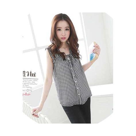 Blouse Motif Kotak 2147 blouse wanita motif kotak kotak t1869 moro fashion