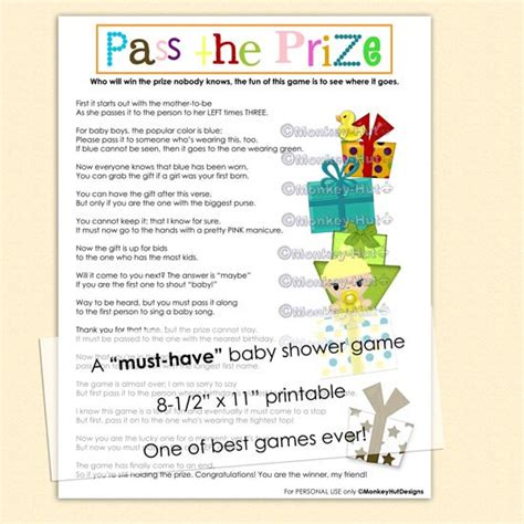 Baby Shower Pass The Gift Poem by Pass The Prize Baby Shower A Must And So By