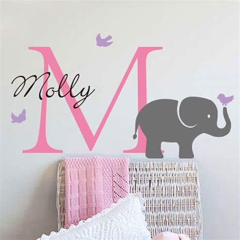 personalised name wall stickers aliexpress buy customize personalized name wall decal sticker elephant birds initial