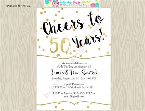 50th Wedding Invitations by 50th Wedding Anniversary Invitation Invite Cheers By