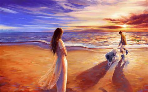 wallpaper couple art beach sea couple art dog paint wallpaper 1920x1200