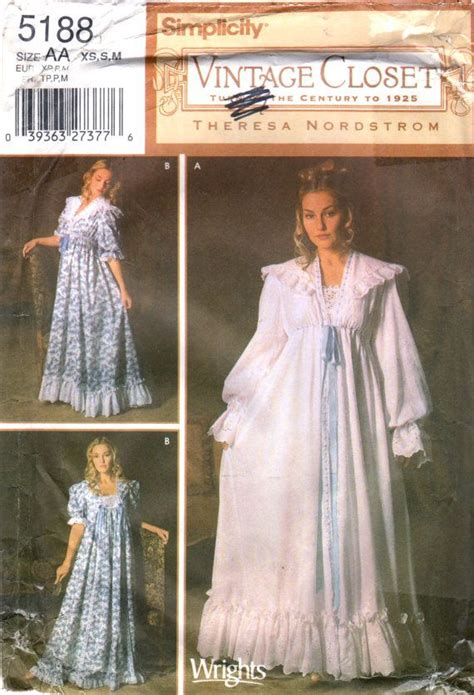 sewing pattern nightie simplicity 5188 misses vintage closet victorian nightgown