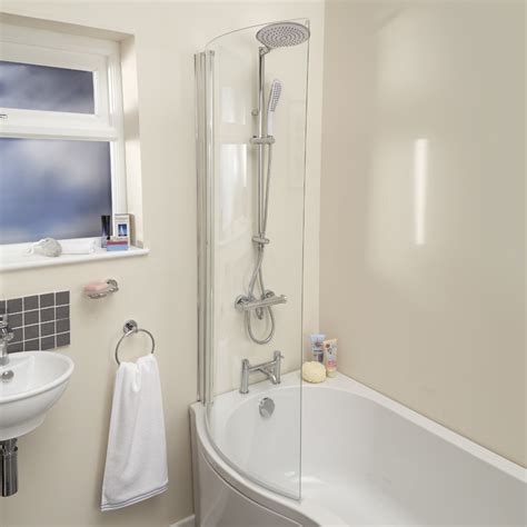 1675 shower bath p shaped 1675 right shower bath front panel and 6mm hinged shower screen