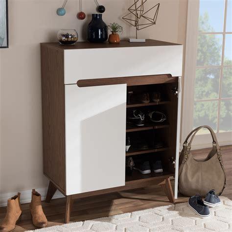 mid century shoe cabinet baxton studio calypso mid century modern white and walnut