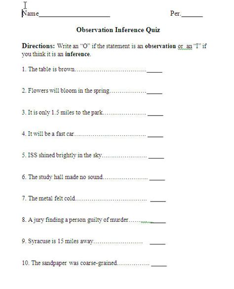 Inference Worksheets Pdf by Printables Observations And Inferences Worksheet