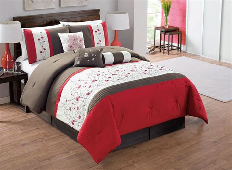 red comforter set queen 7 piece red chocolate ivory embroidered comforter set