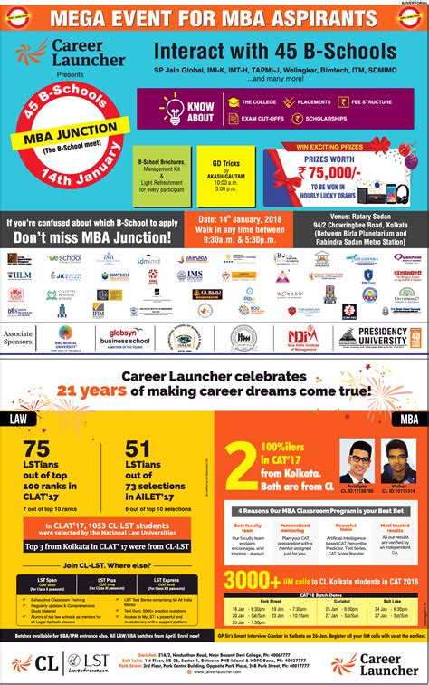 Time Mba Kolkata by Mega Event For Mba Aspirants Career Launcher 45 B Schools