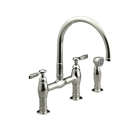 kohler faucet kitchen shop kohler parq vibrant polished nickel 2 handle high arc kitchen faucet at lowes com