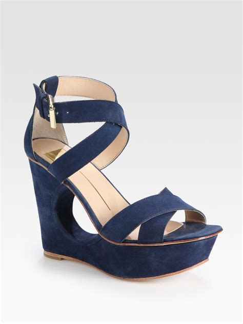dolce vita wedge sandals dolce vita suede cutout wedge sandals in blue navy lyst