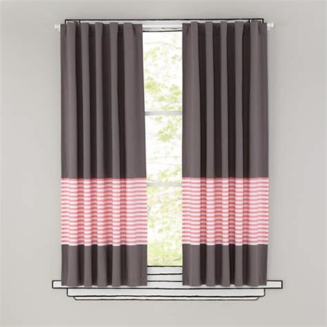 pink striped curtains kids curtains pink stripe grey window curtains the land