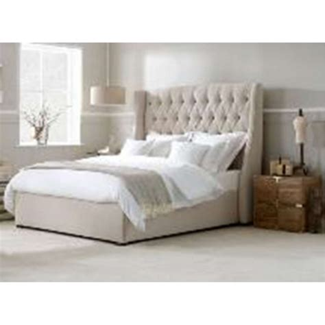 Winged Headboard Uk by Fabric Winged Upholstered Bedframe