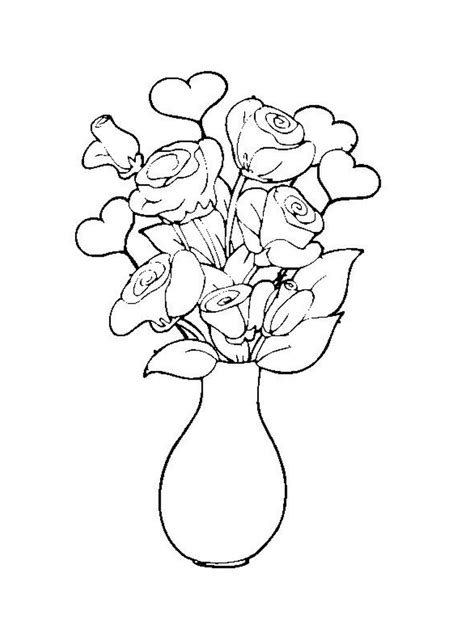 rose bouquet coloring page coloring pages roses a vase